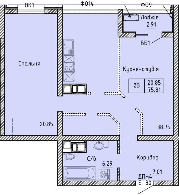 Апартаменты 2В
