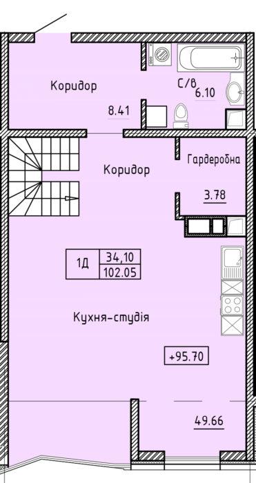 Апартаменты 1Д (2ур.)